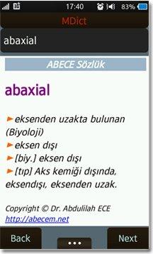 ABECE Sözlük MDict Ekran Görüntüsü
